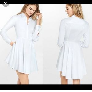 high low white pleated shirt dress, with pockets